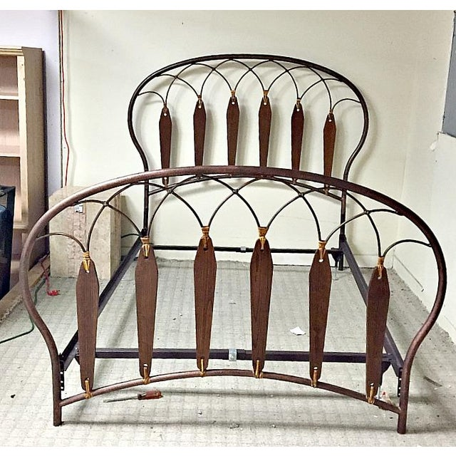 Native American Inspired Metal Wood Leather Full Bed - Image 4 of 10