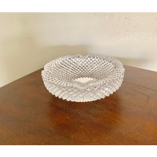 Vintage Modern Round Hand Cut Clear Crystal Ashtray Preview
