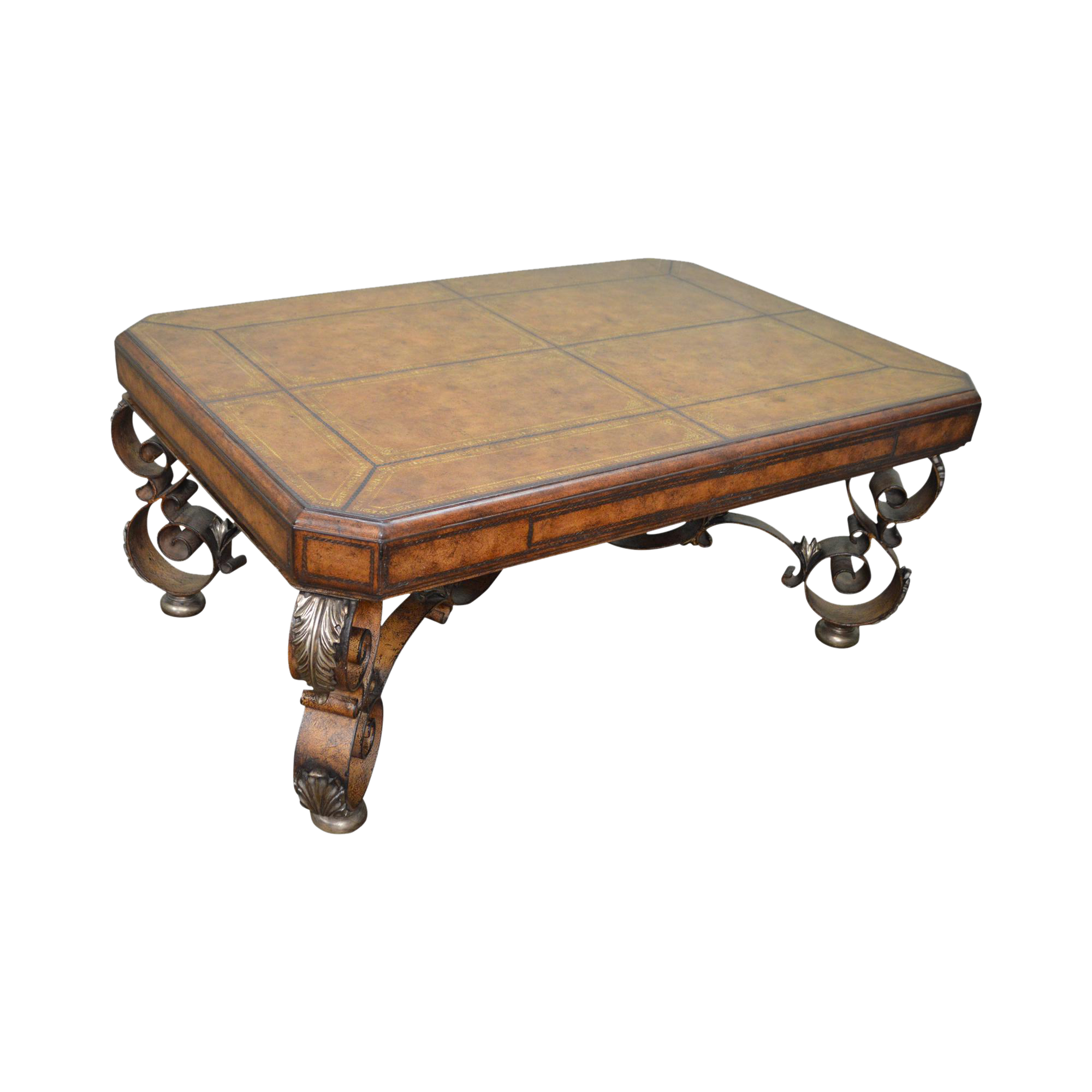 Tooled Leather Top Iron Base Regency Style Large Coffee Cocktail Table