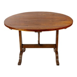 19th Century French Wine Tasting Table -Carved Walnut For Sale