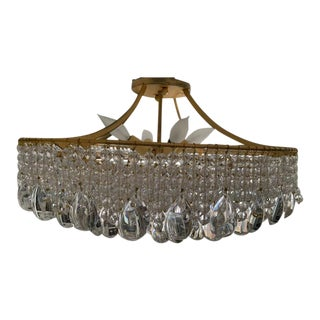 Niermann Weeks Gold and Crystal Ceiling Light For Sale