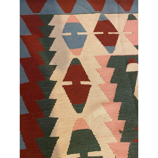 Vintage Antique Handwoven Flat Weave Wool Turkish Aztec Navajo Print Area Rug Area Rug Has normal wear from age/storage....