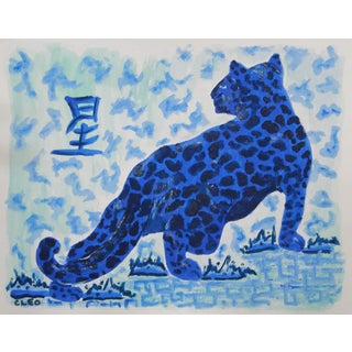 Chinoiserie Blue Leopard Painting by Cleo For Sale