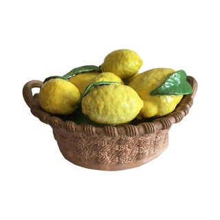 Vintage Ceramic Lemon Basket For Sale