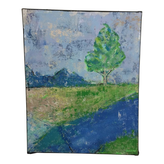 Katherine Musser Berry Tree in Landscape Original Acrylic on Canvas Painting For Sale