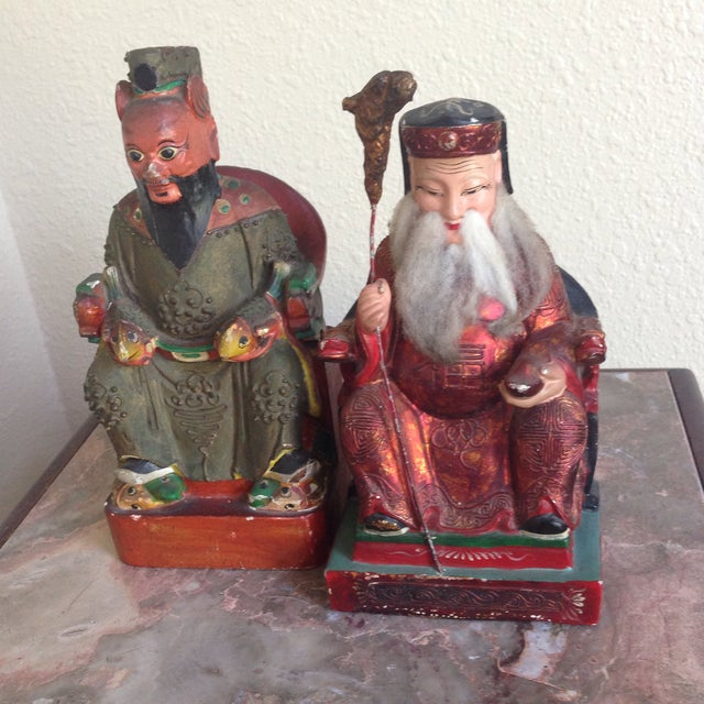 Wood Antique Chinese Polychrome Painted Wood Bookend Statues- Set of 2 For Sale - Image 7 of 7
