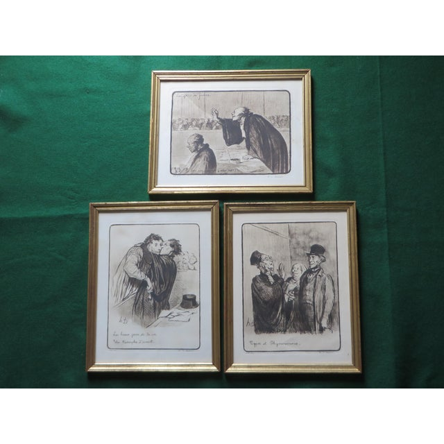 Signed Honore Daumier Caricatures - Set of 3 - Image 2 of 11