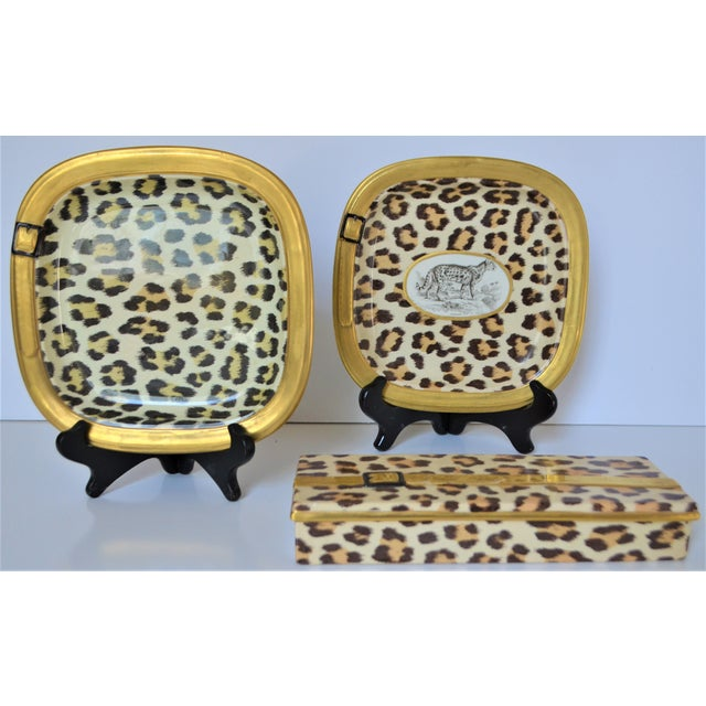 1970s Vintage Italian Mottahedeh Leopard Ceramic Set - 3 Pieces For Sale In Houston - Image 6 of 10