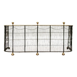 Early 19th Century New England Wrought Iron, Wire and Brass Fireplace Fender For Sale