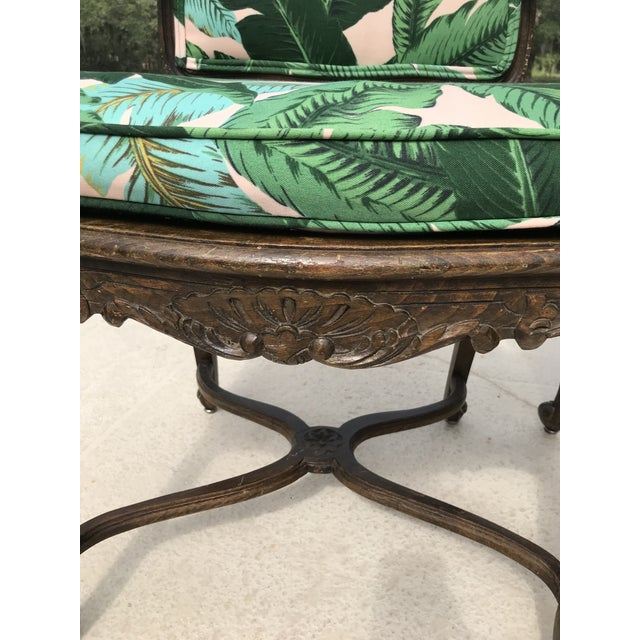 1940s Vintage Coastal Regency Custom Upholstered French Carved Chairs-A Pair For Sale - Image 5 of 13