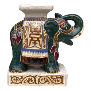 Vintage Chinese Porcelain Elephant Indoor Succulent Plant Stand For Sale