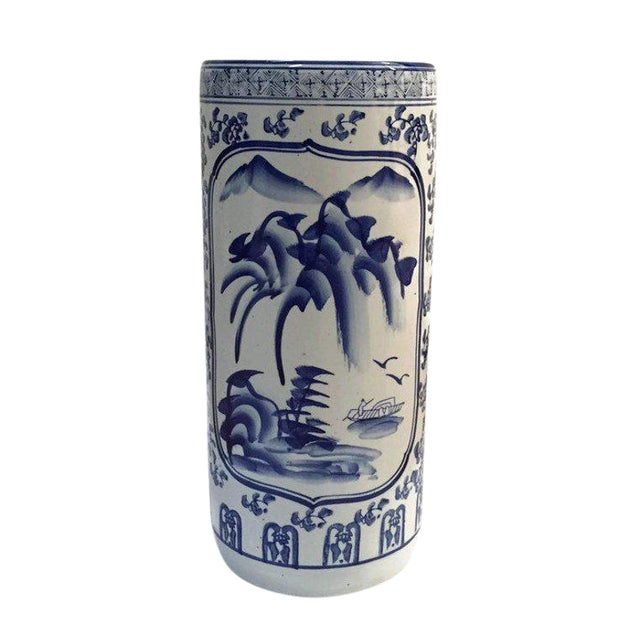 "Vintage Chinoiserie Umbrella Stand Cobalt Blue White Chinese Porcelain 18"" For Sale"