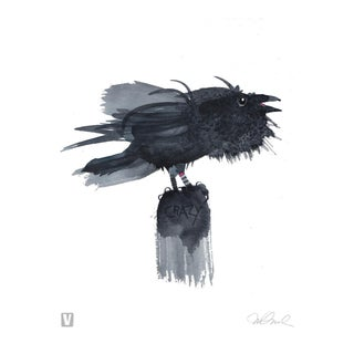 "Premium Giclee Print Of Crazy Crow. 10x12"" For Sale"