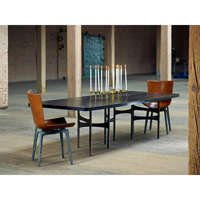 Aluminum Link Dining Table Wood and Steel by AKMD Collection For Sale - Image 7 of 9