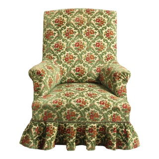 Antique French Edwardian Style Velvet Slipper Armchair, Ca 1910 For Sale