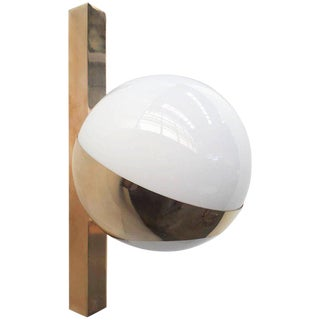 Stilnovo Brass and White Murano Glass Globe Sconces (10 Available) For Sale