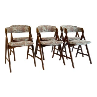 Danish Mid Century Harlev Farstrup Teak A-Frame Dining Chairs - Set of 6 For Sale