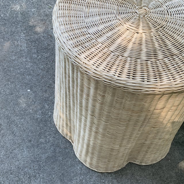 2010s Trompe l'Oeil Round Top Draped Rattan Tables - a Pair For Sale - Image 5 of 12