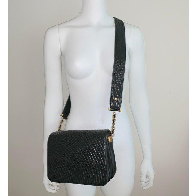 Mediterranean Vintage Bally Handbag Quilted Black Lamb Skin Leather For Sale - Image 3 of 13
