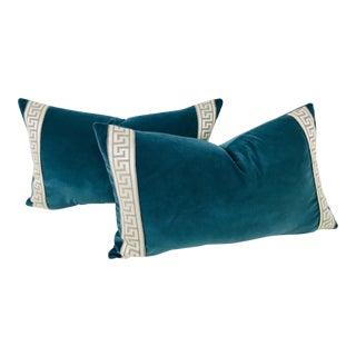 Plush Teal Velvet Pillows – A Pair