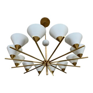 Contemporary Brass Chandelier - Cleo For Sale
