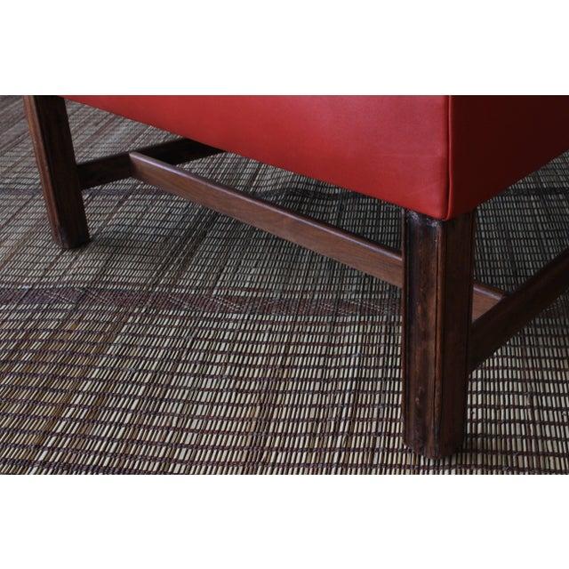 Orange 1940s Orange Leather Wingback Armchair For Sale - Image 8 of 11