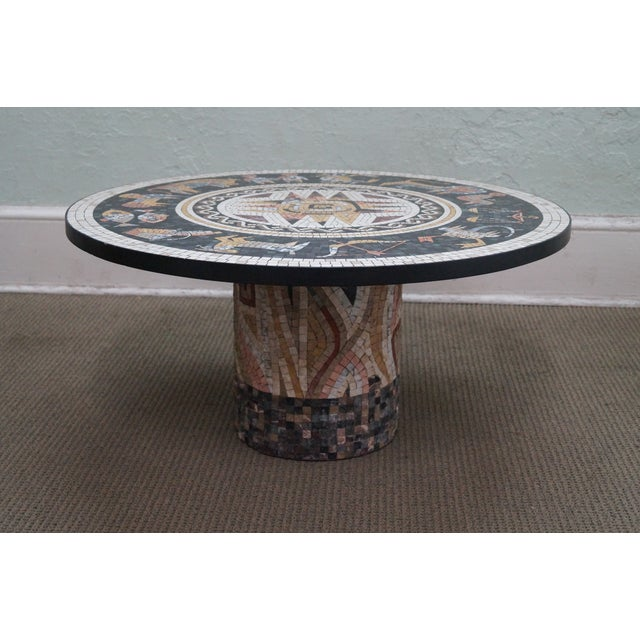 Quality Horoscope Mosaic Stone Tile Round Pedestal Base Coffee Table AGE/COUNTRY OF ORIGIN: Approx 30 years, America...