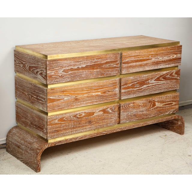 Gold VIntage Sculptural Cerused Oak Chest With Brass Trim For Sale - Image 8 of 8