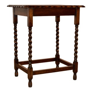 English Oak Side Table With Scalloped Edge, Circa 1900 For Sale