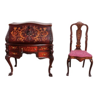 Mahogany Mother of Pearl Inlay Carvings Desk and Matching Chair Set