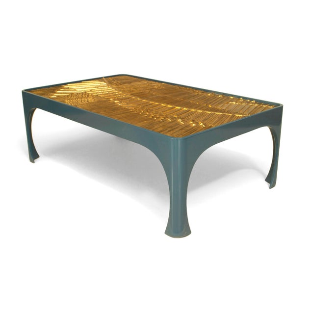 1970s American Inset Gilt Resin and Lacquered Wood Coffee Table For Sale - Image 4 of 4