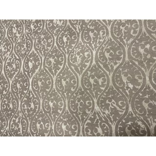 Clarence House Hand Blocked Print on Silk Dupioni Fabric For Sale