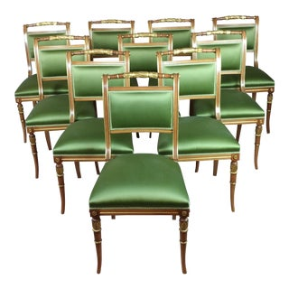 English Regency Parcel Gilt W/Satin Green Upholstery Dining Chairs -Set of 10