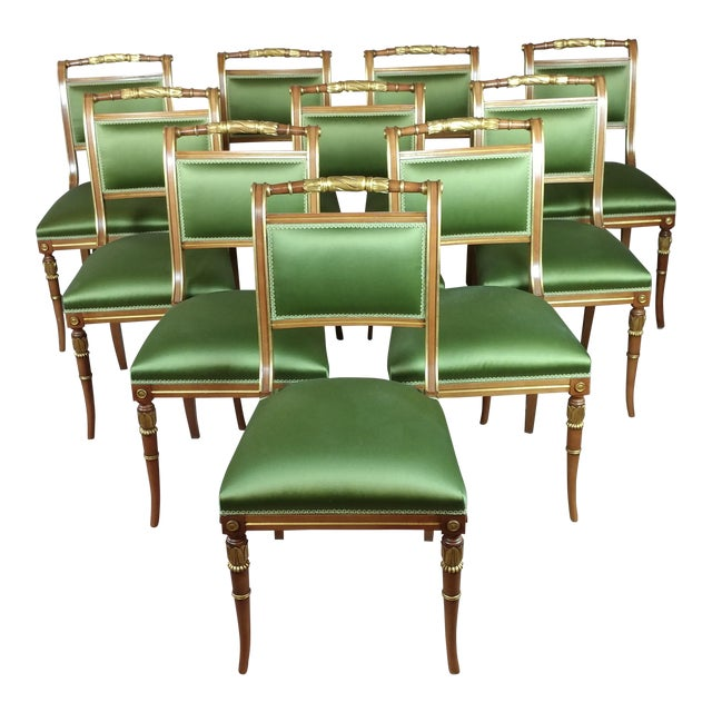 English Regency Parcel Gilt W/Satin Green Upholstery Dining Chairs -Set of 10 - Image 1 of 8