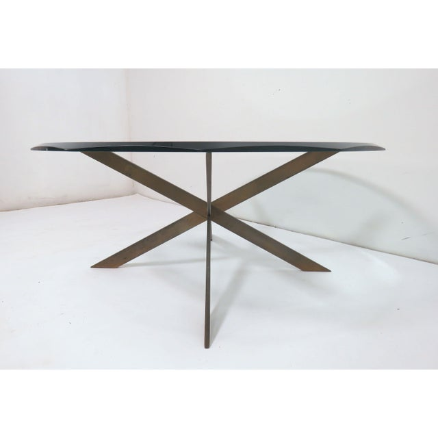 1970s Leon Rosen for Pace Bronze X-Form Coffee Table For Sale - Image 5 of 10