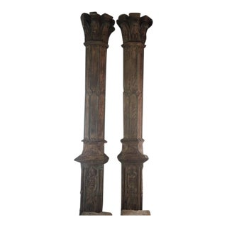 Addison Mizner Hand Carved Large Pilasters - A Pair For Sale