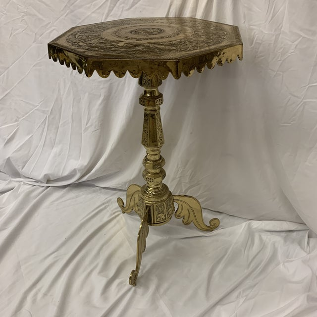 Solid Brass Pedestal Occasional Table For Sale - Image 13 of 13