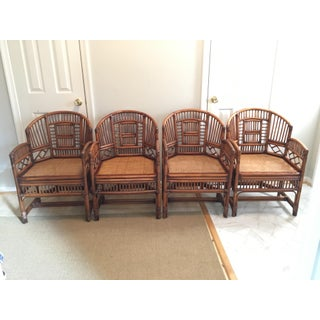 1970s Hollywood Regency Brighton Pavilion Style Bamboo Dining Set - 5 Pieces Preview