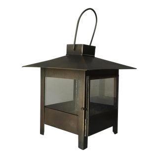 Vintage Crate & Barrel Metal & Glass Pagoda Candle Lantern For Sale