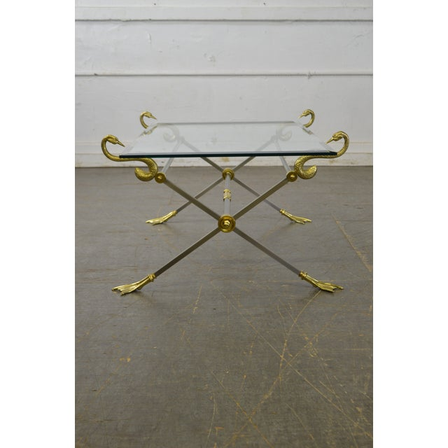 Hollywood Regency LaBarge X Base Brass Brushed Steel Glass Top Coffee Table For Sale - Image 3 of 13
