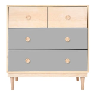 Lukka Modern Kids 4-Drawer Dresser in Maple With Gray Finish For Sale