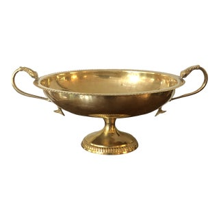 Vintage Brass Pedestal Bowl With Koi Fish Handless For Sale