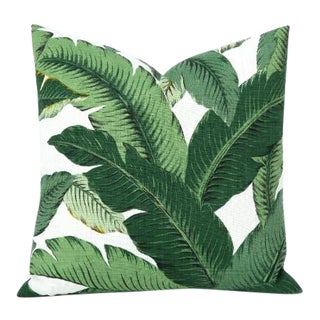 Swaying Palm Leaves Linen Pillow Cover