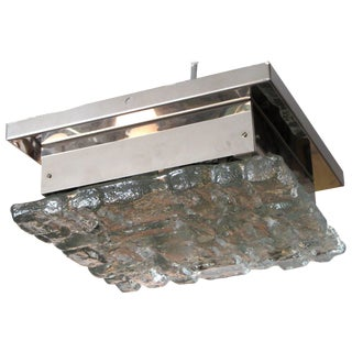 """Ice"" Glass and Chrome Square Flush Mount Ceiling Light For Sale"