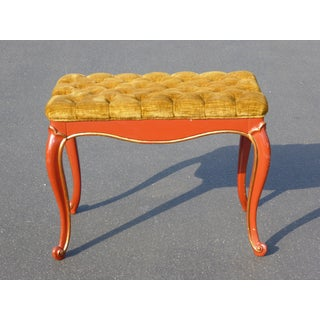Vintage French Provincial Red Laquer Tufted Gold Velvet Bench Preview