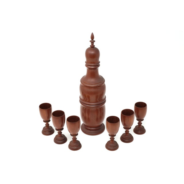 Vintage Mid-Century Modern Wood Decanter and Cups - Set of 7 For Sale - Image 11 of 11