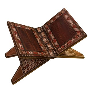 Vintage, Hand-Made, Inlaid, Folding Book Holder For Sale
