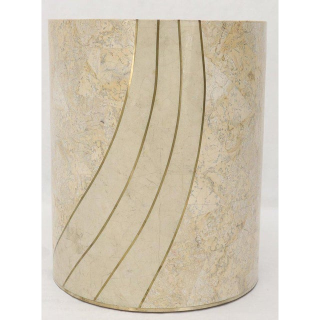 Large Cylinder Tessellated Stone Veneer Brass Inlay Dining Table Base Pedestal For Sale - Image 6 of 13