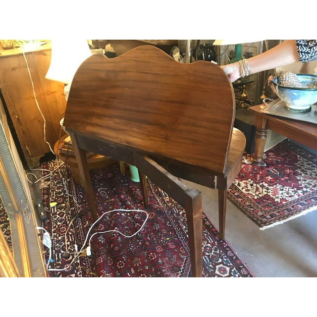 Mahogany Bridge Table With Scalloped Drop Down/Flip Top For Sale - Image 4 of 8
