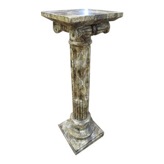 1960s Vintage Style Italian Faux Marble Pedestal For Sale